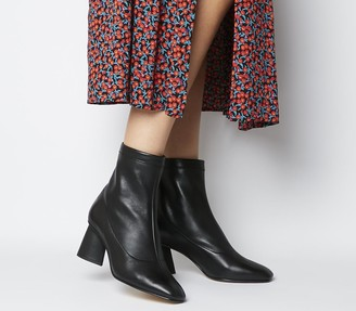 Office Afternoon Feature Mid Heel Boots Black Leather Feature Zip