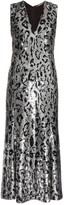 Roberto Cavalli Leopard-print Sequin-embellished Midi Gown - Womens - Silver