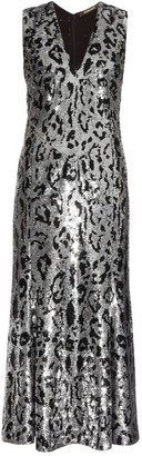Roberto Cavalli Leopard-print Sequin-embellished Midi Gown - Silver
