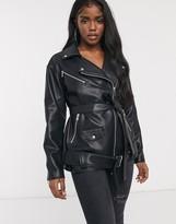Asos Design DESIGN oversized leather look biker jacket in black