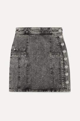 Balmain Button-embellished Acid-wash Denim Mini Skirt - Gray