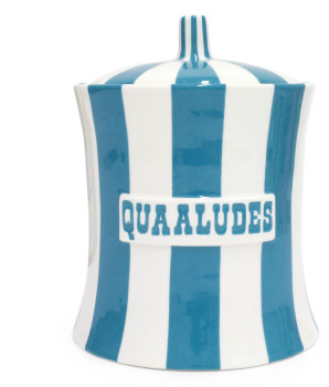 Jonathan Adler Blue and White Quaaludes Vice Canister