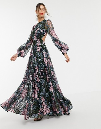 Asos Edition EDITION floral embroidered maxi dress with open back-Multi