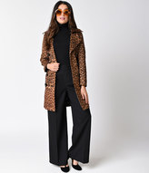 Neslay Retro Style Leopard Print Faux Suede Belted Button Up Trench Coat