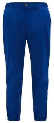 Gucci Side-stripe Cotton-gabardine Chino Trousers - Mens - Blue