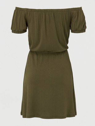 Very Bardot Elastic Waist Jersey Mini Dress - Khaki