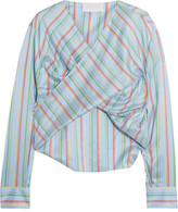 Esteban Cortazar Twist-front Striped Silk Top - Blue