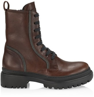 Brunello Cucinelli Lug-Sole Monili-Trimmed Leather Combat Boots