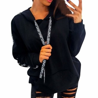 Gofodn Sweatshirt Womens Clothes Sale Plus Size Long Sleeve Casual Solid Letter Drawstring Hooded Pullover Black