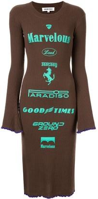Ground Zero Brand Print Knitted Dress