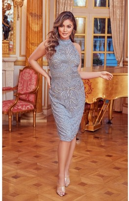 Sistaglam Glossie Grey Blue Beaded Midi Dress