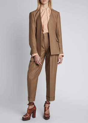 Pinstripe Wool Long-Sleeve V-neck Single-Breasted Blazer Jacket by Chloé, available on shopstyle.com for $2450 Gigi Hadid Outerwear Exact Product