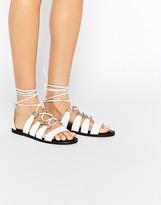 Asos FRANTIC Leather Tie Leg Sandals