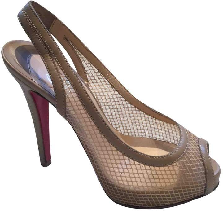 Christian Louboutin Private Number Beige Cloth Heels