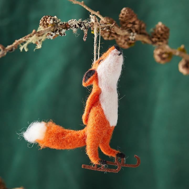Felt Ice Skating Fox Ornament