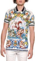 Dolce & Gabbana Men's Maiolica Tile-Print Polo Shirt
