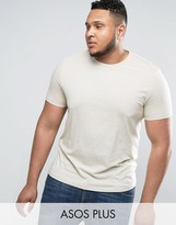 Asos PLUS T-Shirt With Crew Neck In Beige