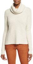 Alice + Olivia Nettie Transfer-Knit Ribbed Sweater, Cream