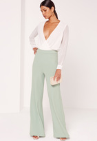 Missguided Jersey Crepe Wide Leg Trousers Green