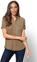 New York & Co. Soho Soft Shirt - Button-Tab Short-Sleeve
