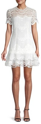 Jonathan Simkhai Mixed Lace Cap Sleeve Mini Dress