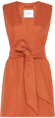 BONDI BORN Belted Linen-Twill Mini Dress