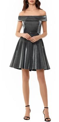 Xscape Evenings Off the Shoulder Glitter Cocktail Dress