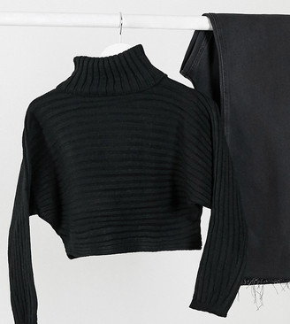 New Look Petite roll neck cropped jumper in black