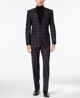 English Laundry Men's Blue and Brown Plaid Slim-Fit Suit