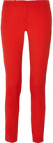 Michael Kors Samantha Stretch-wool Gabardine Slim-leg Pants - Red