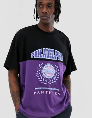 Asos Design DESIGN oversized t-shirt with color block panel and Philadelphia collegiate print