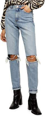 Topshop Bleached Double Rip Mom Jeans 34-Inch Leg