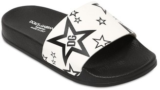 Dolce & Gabbana Star Printed Leather Slide Sandals