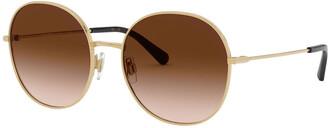 Dolce & Gabbana Round Metal Sunglasses w/ Leopard Print Lenses