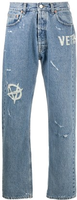 Vetements Distressed Straight-Leg Jeans