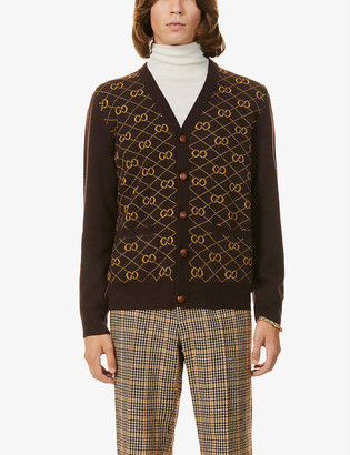 Gucci GG-intarsia wool and alpaca-blend cardigan