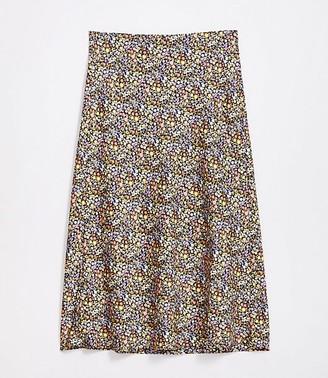 LOFT Plus Floral Pull On Midi Skirt