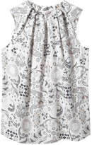 Joe Fresh Women's Print Sleeveless Blouse, White (Size XS)