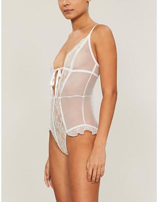 Myla Elm Row floral lace stretch-mesh playsuit