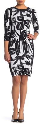 Maggy London Printed 3/4 Length Sleeve Dress (Petite)