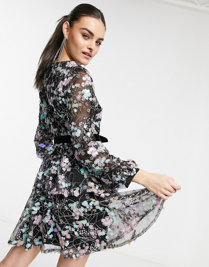 Thumbnail for your product : Forever U wrap dress with multi irridecent sequin in black