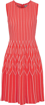 Lela Rose Pleated Striped Intarsia-knit Dress