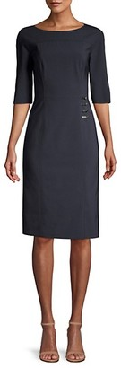HUGO BOSS Disoma Stretch Virgin Wool-Blend Faux Wrap Dress
