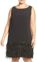 Tahari Feather Hem Crepe Shift Dress (Plus Size)