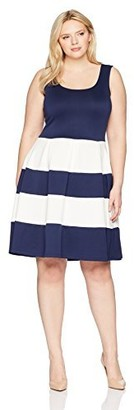 Chetta B Plus Size Womens Sleeveless Color Blocked Scuba Fit and Flare Dress Navy/Ivory 14W