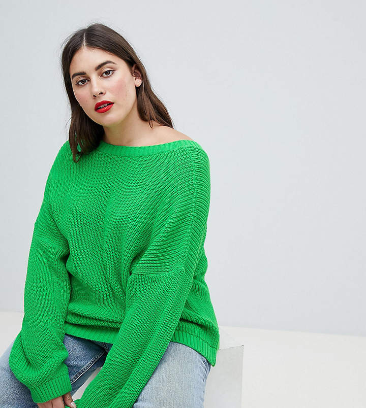 DESIGN Curve sweater with v back