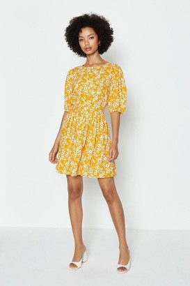 Coast Floral Print Belted Puff Sleeve Dress