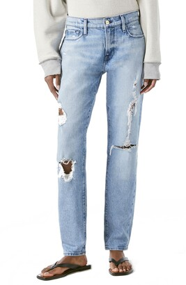 Frame Le Garcon Ripped Straight Leg Jeans