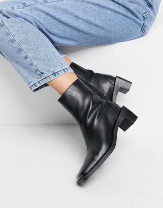 Truffle Collection faux leather square toe mid heel ankle boots in black