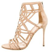 Sergio Rossi Suede Cage Sandals w/ Tags
